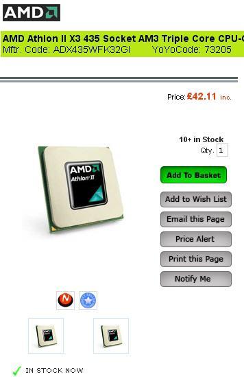 AMD'nin üç çekirdekli Athlon II X3 425 ve 435 işlemcilerinin satışı başladı