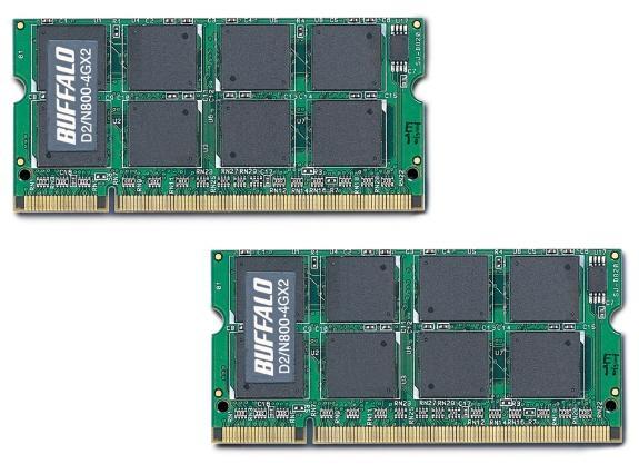 Buffalo dizüstü bilgisayarlar için 8GB kapasiteli DDR2 SO-DIMM kit hazırladı