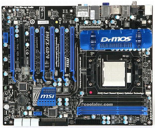 Ve 890FX çipsetli ilk anakart görüntülendi: MSI 890FX-GD70