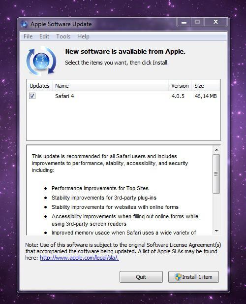 Apple, Safari 4.0.5'i yayınladı