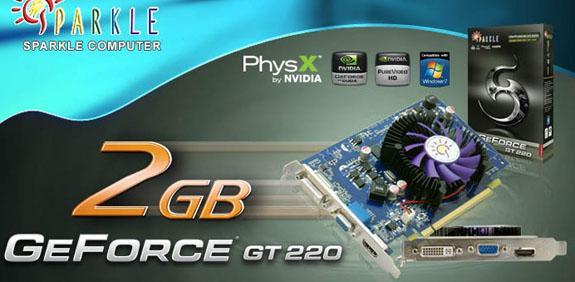 Sparkle 2GB bellekli GeForce GT 220 modelini duyurdu
