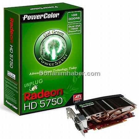 PowerColor HD 5750 Go! Green referans modelden %21 daha az güç çekiyor
