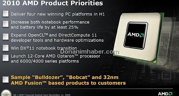 AMD Finansal Analist Günü-3: Bulldozer, Bobcat ve Fusion işlemci örnekleri 2010'da hazır