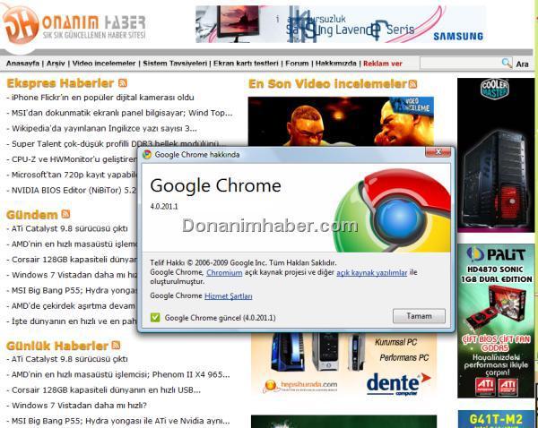Google Chrome için 4.0.201.1 sürüm numaralı yeni versiyon yayınlandı