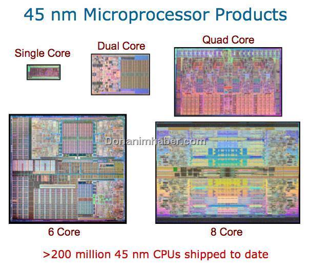 Intel 200 milyondan fazla 45nm işlemci sattı
