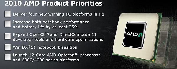 İşte AMD'nin 2010 için planladığı ürün öncelikleri