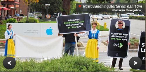 İsveç SVT televizyonundan bazı çalışanlar Apple merkezinin önüne kamp kurdu