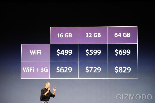 iPad'in başlangıç fiyatı: 499 Dolar
