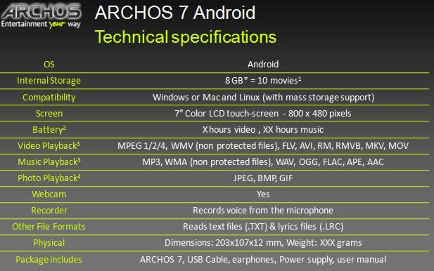 Android'li Archos 7'nin detayları belli oldu