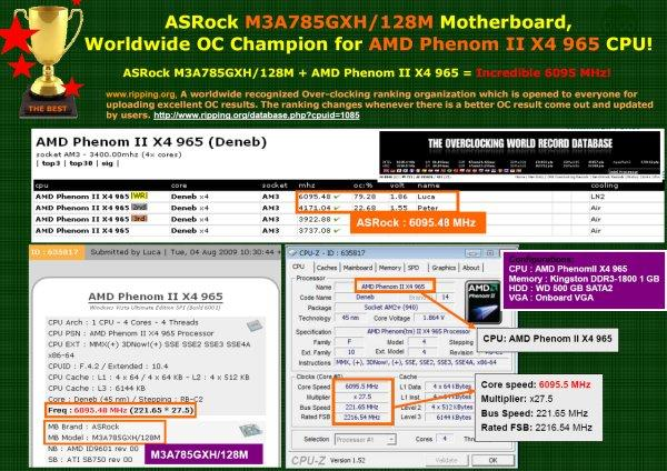 AMD'nin 785G yonga seti hız aşırtma konusunda da iddialı, Phenom II X4 965 BE ile 6.1GHz görüldü