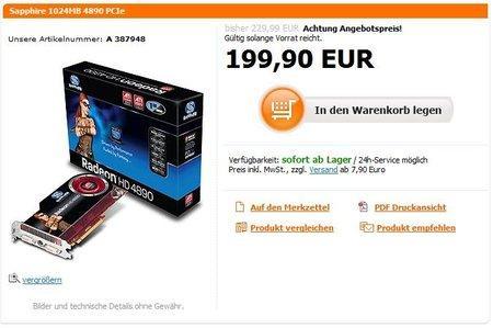 Ve ATi Radeon HD 4890'da fiyatlar düşmeye başladı