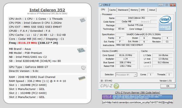 Intel Celeron 352 hız aşırtma ile 8116MHz'e çıkartıldı