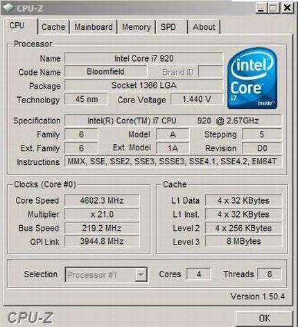 D0 revizyonlu Core i7 920, hava soğutma ile 4.6GHz'i gördü