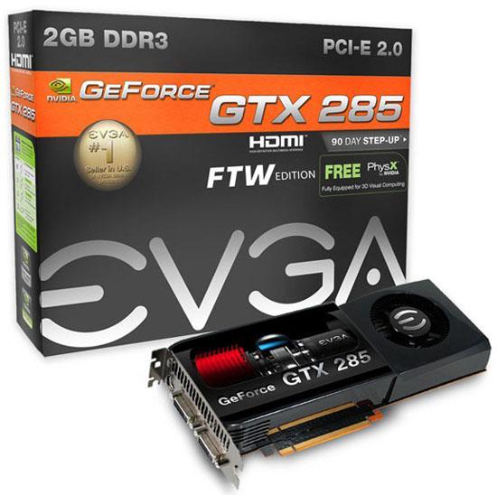 EVGA 2GB GDDR3 bellekli GeForce GTX 285 FTW modelini duyurdu