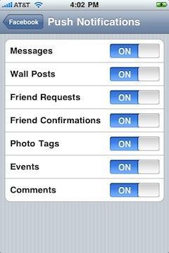 Facebook'un iPhone OS uygulaması artık Push Notifications destekliyor