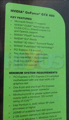 İşte GeForce GTX 480'in kutu arkası teknik özellik tablosu