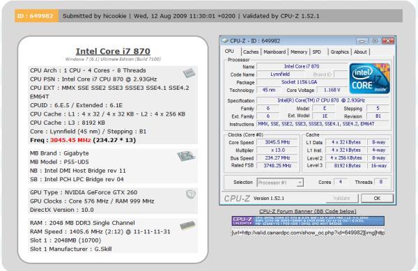 Gigabyte P55-UD5 ile 2810MHz DDR3 bellek hızına ulaşıldı