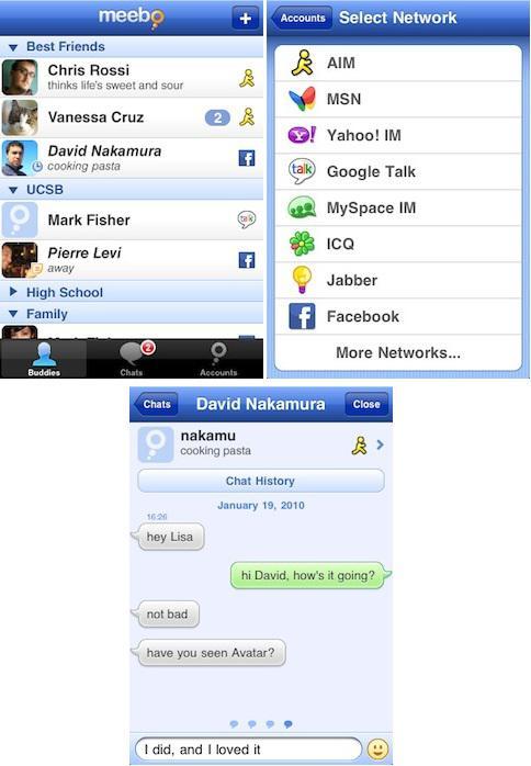 Meebo'nun ücretsiz anlık mesajlaşma yazılımı AppStore'da