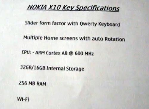 Nokia'dan AMOLED ekranlı ve Symbian^3 işletim sistemli yeni telefon: X10