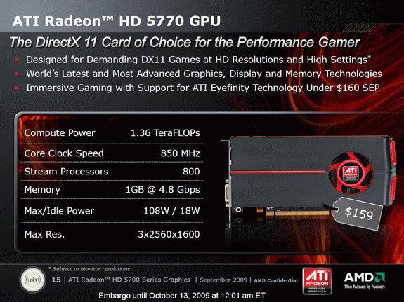 ATi Radeon HD 5770 159$'lık etiket fiyatıyla satışa sunulacak