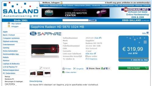 Sapphire Radeon HD 5870 ön-sipariş listelerinde görünmeye başladı