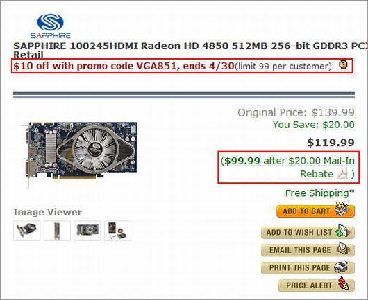 ATi Radeon HD 4850'nin fiyatı 90$ seviyesine kadar geriledi