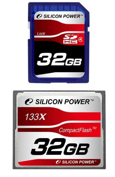 Silicon Power, 32GB kapasiteli SDHC ve CompactFlash bellek kartlarını duyurdu