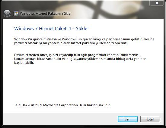 Windows 7 Hizmet Paketi 1'den ekran görüntüleri