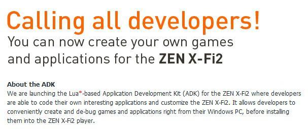 Creative, Zen X-Fi2 için uygulama geliştirme kiti yayınladı