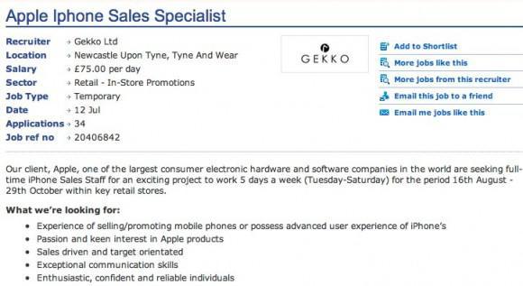 Apple'ın yayınladığı bir iş ilanına göre iPhone 5 16 Ağustos'ta piyasada olabilir