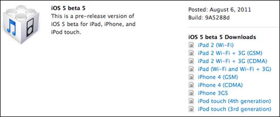 iOS 5 Beta 5 geliştiricilere sunuldu