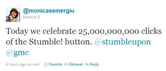 StumbleUpon butonu 25 milyar kere tıklandı