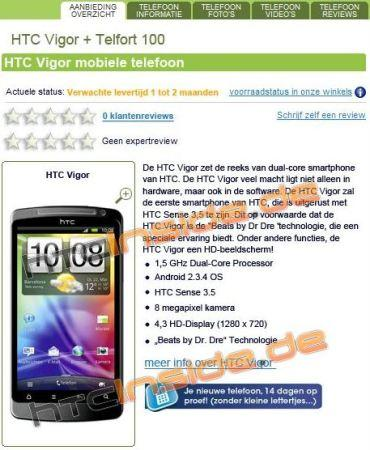 HTC Vigor Hollandalı bir çevrimiçi perakende mağazasının sitesinde ortaya çıktı