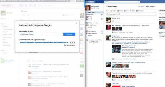 Facebook Google+ daveti içeren gönderileri engelliyor olabilir