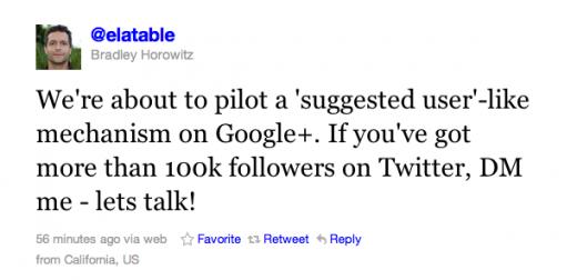 Google+ 100 binden fazla Twitter takipçisi olanlarla Tavsiye Edilen Kullanıcı Listesi denemelerine başlıyor