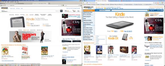 Amazon, tabletler için optimize ettiği yeni internet sitesini deniyor