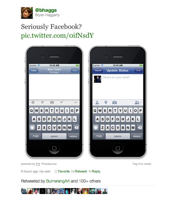 Facebook iOS uygulaması Twitter uygulaması ile birebir benziyor