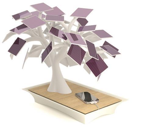 Electree güneş enerjili bonsai ağacı şeklinde şarj istasyonu