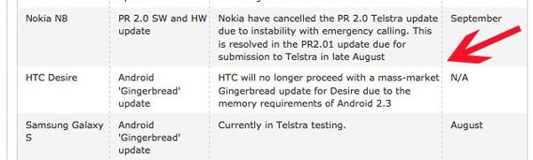 Avustralya'da HTC Desire Gingerbread güncellemesi almayacak