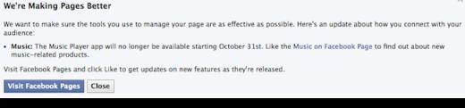Facebook, MP3 çalar uygulamasını sona erdirdi