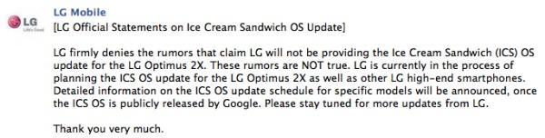 LG : Optimus 2X, Ice Cream Sandwich güncellemesini alacak