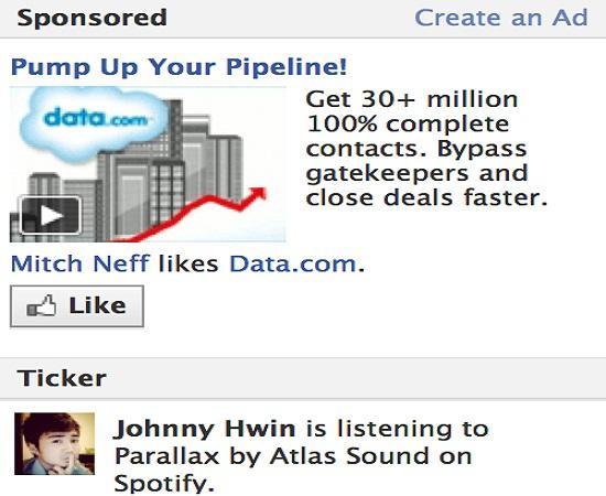 Facebook ana sayfada üst bölümlerde reklam tasarımını deniyor
