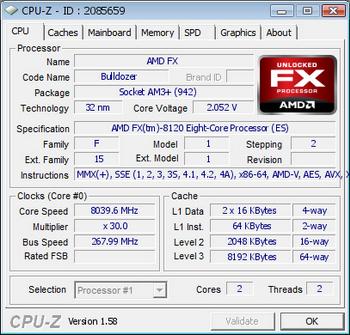 AMD'nin FX-8120 işlemcisi de 8GHz'in üzerine hız aşırtıldı