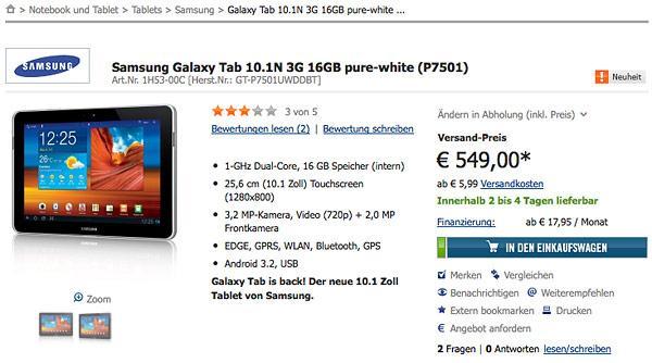 Samsung, Galaxy Tab 10.1 modelini Almanya için yeniden makyajlıyor