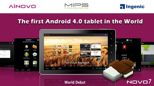Ainovo ve MIPS'den dünyanın ilk Ice Cream Sandwich'li tableti NOVO7