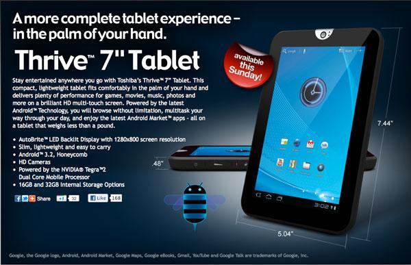 Toshiba Thrive 7 tablet modeli piyasaya sürüldü