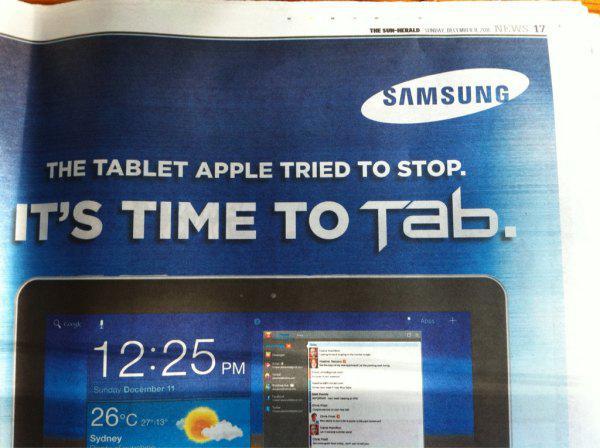 Samsung, Avustralya'da Galaxy Tab 10.1 satışlarına ilginç bir reklamla başladı