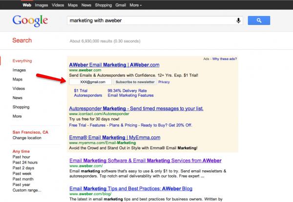 Google arama sonucu reklamlarında eposta aboneliğini deniyor
