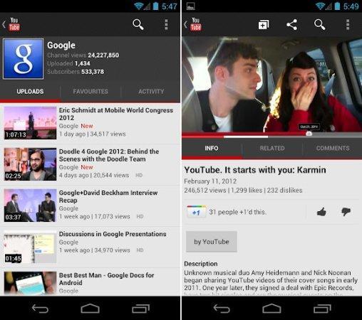 YouTube Android uygulaması güncellendi, HD video oynatımı uyumlu 2.2 sürümü ve üzerindeki modellere geliyor
