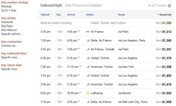 Google, uçuş arama özelliği sonuçlarına ulusararası uçuşları da ekliyor
